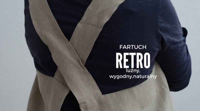 Fartuch lniany w stylu retro, vintage